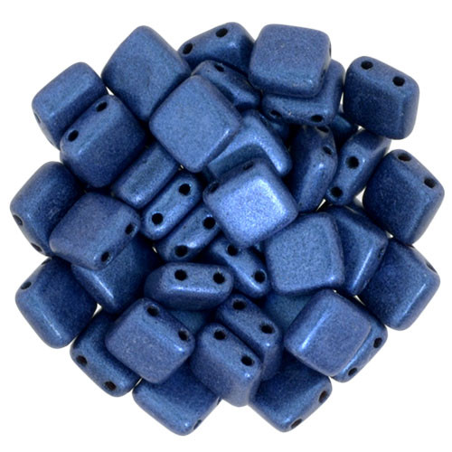 6mm 2-Hole Metallic Suede Blue Tile Beads - 50pk