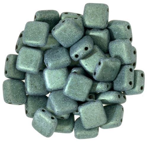 6mm 2-Hole Metallic Suede Light Green Tile Beads - 50pk