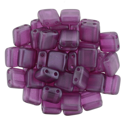6mm 2-Hole Pearl Lights Orchid Tile Beads - 50pk