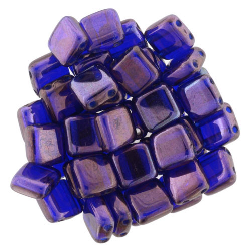 6mm 2-Hole Cobalt Vega Tile Beads - 50pk