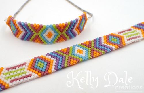 Odd Count Peyote Multi Color Diamond Bracelet INSTANT DOWNLOAD Pattern