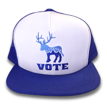 """""""Donkalope Vote"""" logo graphic (Embroidery on White and Blue Trucker Cap)"""