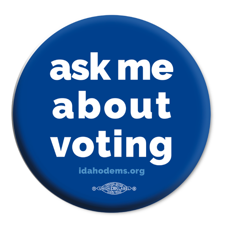 """Ask Me About Voting"" logo graphic on (2.25"" Mylar Button -- Pack Of Two!)"