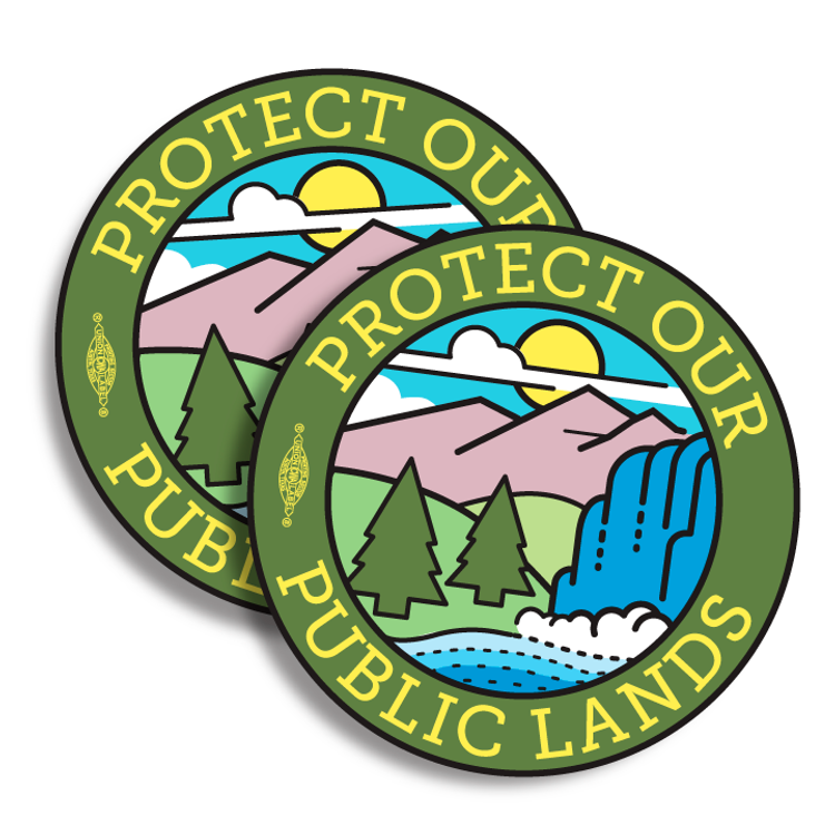 """Protect Our Public Lands"" logo graphic (4"" Vinyl Sticker -- Pack of Two!)"