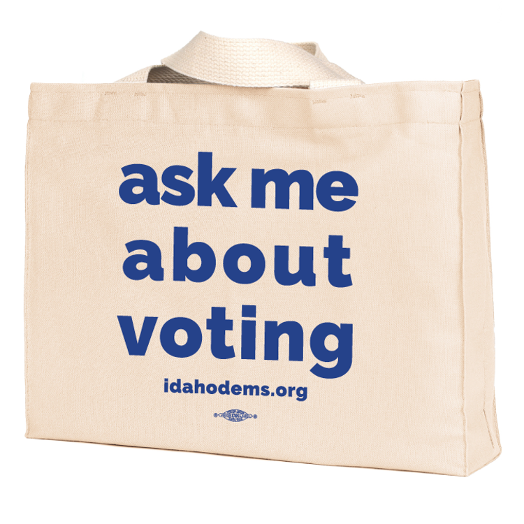 """Ask Me About Voting"" logo graphic (Natural Canvas Tote)"
