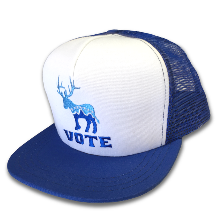 """Donkalope Vote"" logo graphic (Embroidery on White and Blue Trucker Cap)"