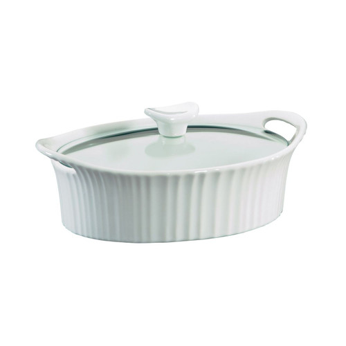 CorningWare® French White® 1.5 qt Oval Casserole w/ Glass Lid
