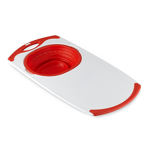 Dexas® Popware™ Over-the-Sink Collapsible Strainer Cutting Board in Red