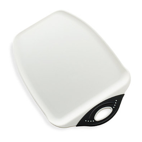 Dexas® Chop and Scoop™ Large Cutting Board in White/Black