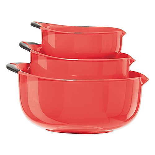 Oggi™ 3-Piece Oval Mixing Bowl Set in Red