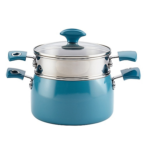 Rachael Ray™ Porcelain Enamel 3 qt. Steamer Set in Turquoise
