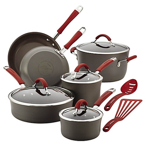 Rachael Ray Cucina 12-Piece Cookware Set in Grey/Red