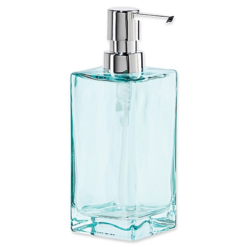Oggi Tall Glass 13 oz. Soap Dispenser in Aqua