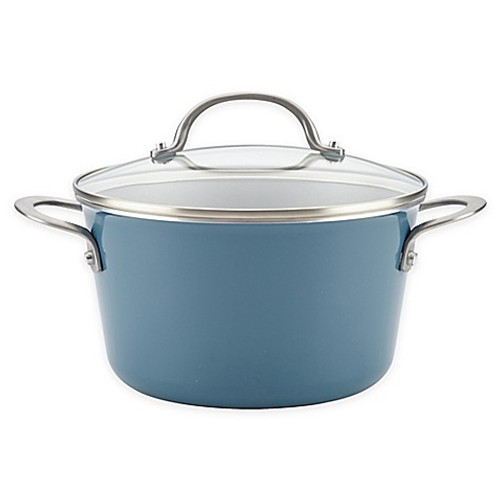 Ayesha Curry™ Porcelain Enamel Nonstick 4.5 qt. Covered Sauce Pot in Twilight Blue