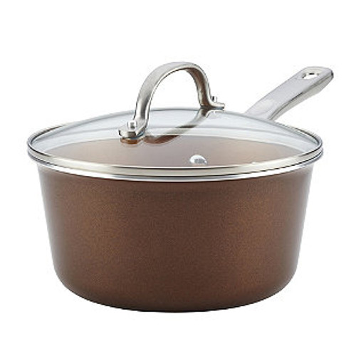 Ayesha Curry™ Porcelain Enamel Nonstick 3 qt. Covered Saucepan in Brown