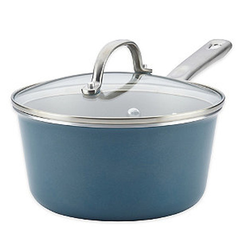 Ayesha Curry™ Porcelain Enamel Nonstick 3 qt. Covered Saucepan in Teal