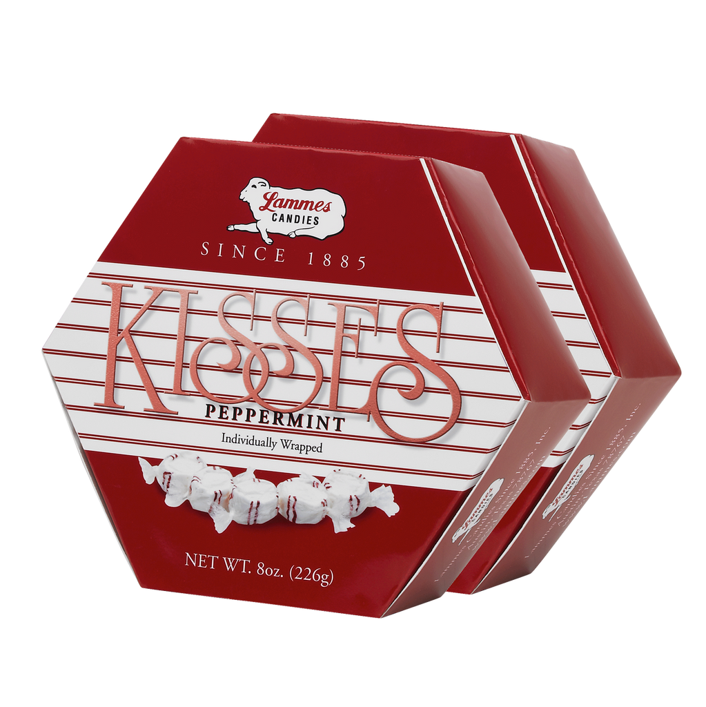 Peppermint Taffy Kisses Hexagon Boxes - 2 Pack