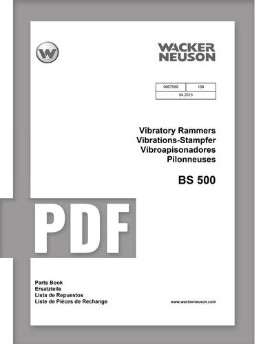 Parts Manual   BS500 - Item: 0007550, REV139   Free Download