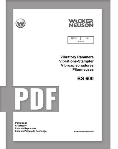 Parts Manual   BS600 - Item: 0007551, REV139   Free Download