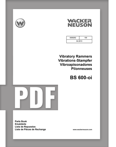 Parts Manual   BS600oi - Item: 0009262, REV100   Free Download