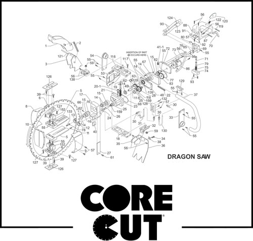 Shield Guide Roller Left | Core Cut Dragon Saw | 6061194