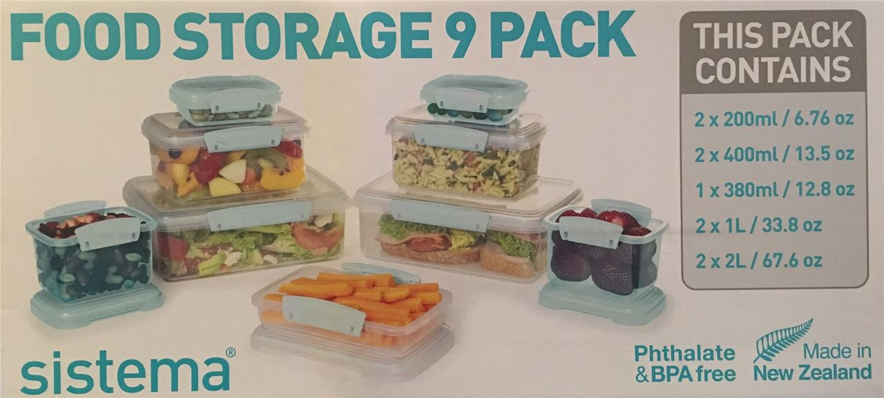 SISTEMA Food Storage 9 Pack Kitchen Containers Stackable Microwave Freezer  Safe