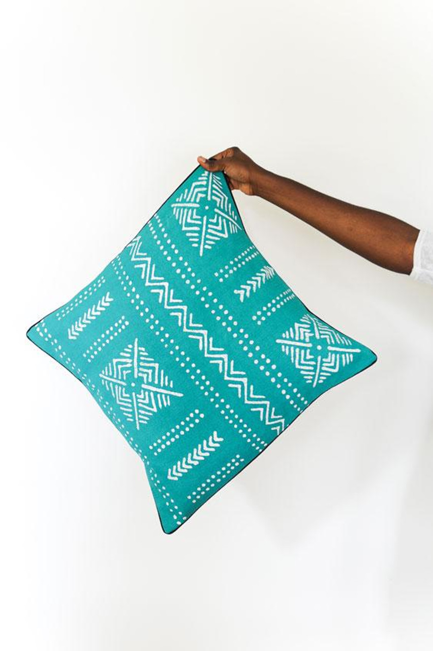 Delicieux Throw/Sofa Pillows | Teal | Mudcloth Design   18 By 18 Inches