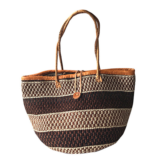 "Kiondo Basket Bag - Black, Brown & Natural Stripes | 13"" - Shopper, Storage, Decor"