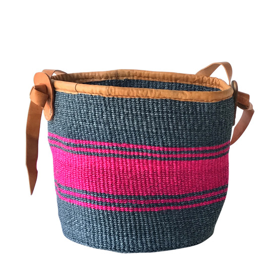 Kiondo Basket - Grey and Fuchsia | Large - Shopper, Storage, Decor