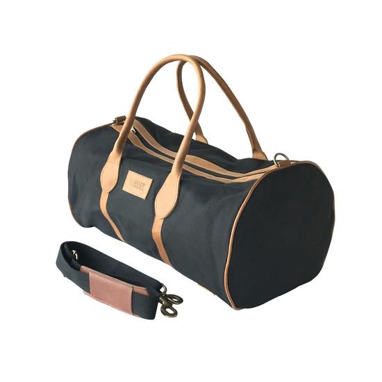 Travel - Weekender Duffle Bag |  Black Canvas - Tan Leather Trim | Medium/Small