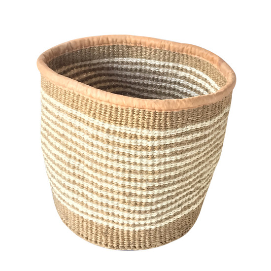 Kiondo Basket - Natural & White Stripes | Medium - 10""