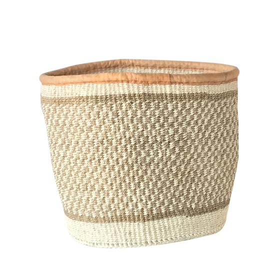Kiondo Basket - Natural & White Squares | Medium - 10""