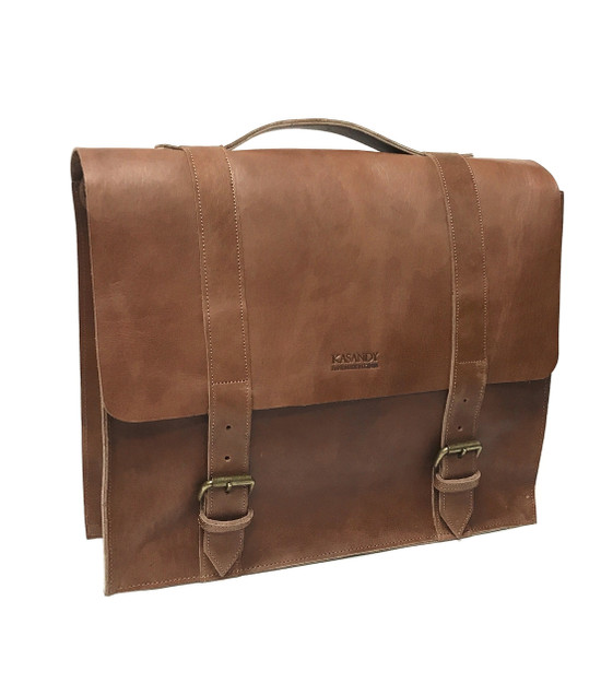 Genuine Leather Messenger Bag | Briefcase | Laptop Bag - Brown  | Handmade in Kenya
