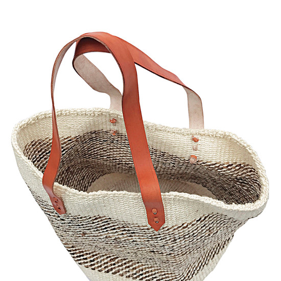 Kiondo Basket Bag - Natural & Banana Stem | Long Strap Medium - 12""