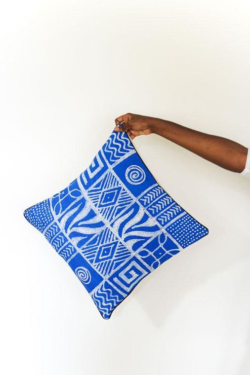 Throw/Sofa Pillows | Blue | Geometric Design - 18 by 18 Inches