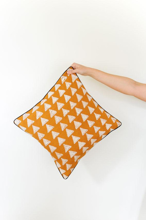 Throw/Sofa Pillows | Rust Caramel | Mudcloth Design - 18 by 18 inches
