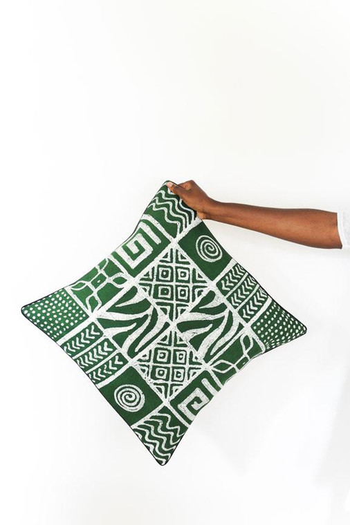 Throw/Sofa Pillows | Green | Mudcloth Design - 18 x 18 inches