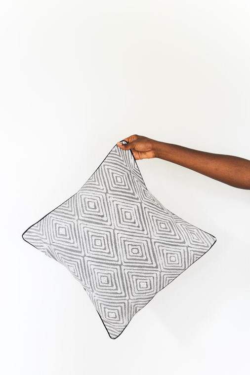 Throw/Sofa Pillows | Grey | Geometric Design - 18 by 18 inches