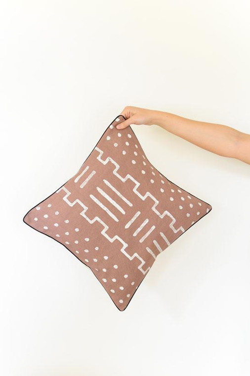 Throw/Sofa Pillows | Taupe | Mudcloth Design - 18 by 18 inches