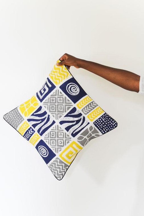 Throw/Sofa Pillows | Blue-Yellow-Grey | Mudcloth Design - 20inch
