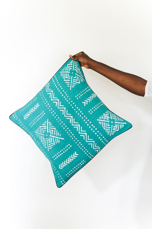 Throw/Sofa Pillows | Teal | Mudcloth Design - 20inch