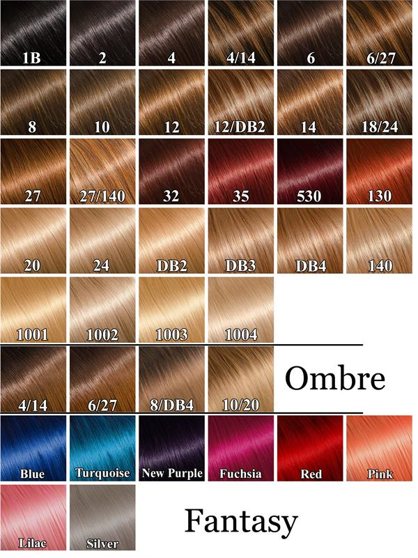 Hair Extension Color Chart Vision Hair Extensions
