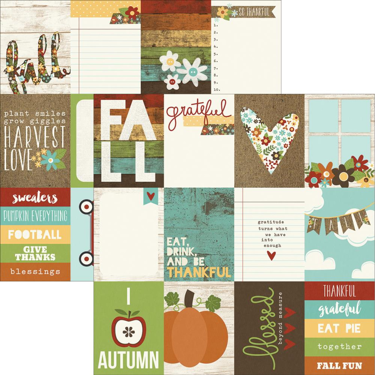 Pumpkin Spice Collection 12 x 12 Double-Sided Scrapbook Journaling Card Elements by Simple Stories
