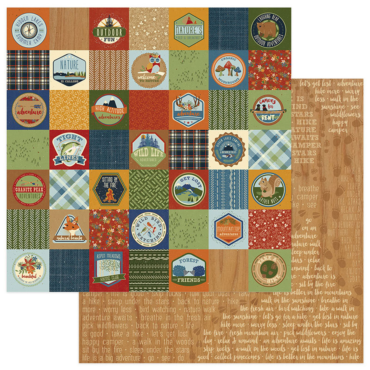 Campfire Collection Badges 12 X 12 Double Sided Scrapbook Paper By