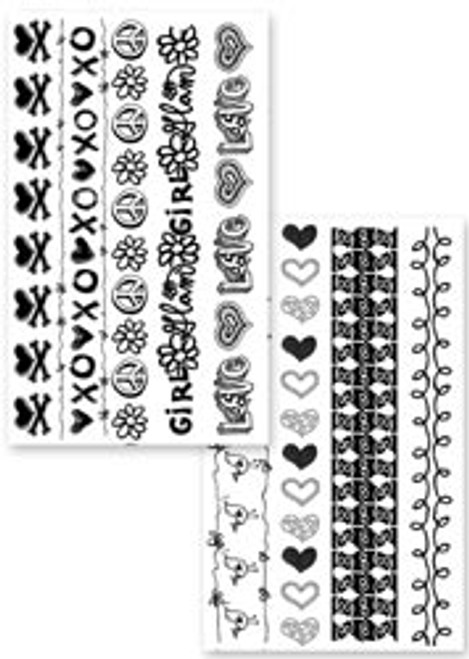 Stampology Girl Power Borders Acrylic Stamp Set by Autumn Leaves