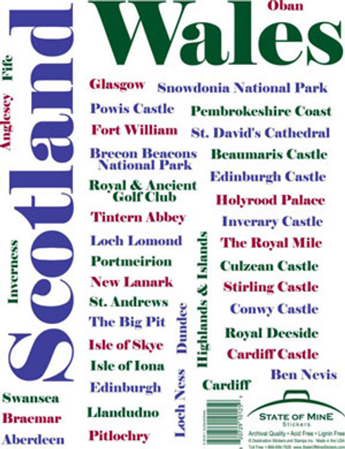 Scotland State of Mine Destination Sticker Sheet