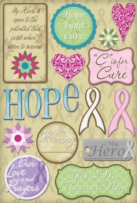 Hope For A Cure Collection Cardstock Sticker Sheet by Karen Foster Design