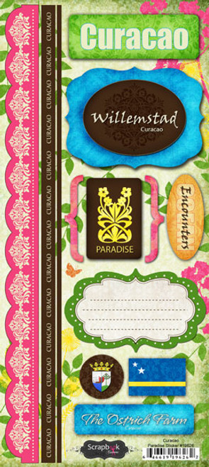 Paradise Collection Curacao Cardstock Sticker Sheet by Scrapbook Customs