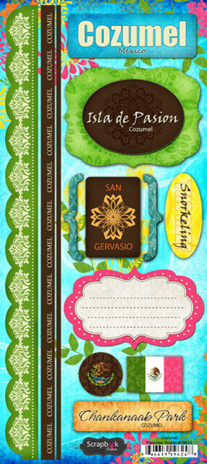 Paradise Collection Cozumel Cardstock Sticker Sheet by Scrapbook Customs