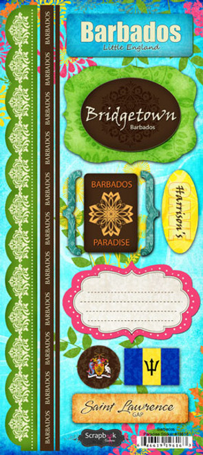 Barbados Paradise Collection Cardstock Sticker Sheet by Scrapbook Customs